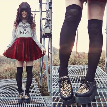 http://lookbook.nu/look/4325535-Oasap-Leopard-Creepers-Chicnova-Red-Velvet-Skirt