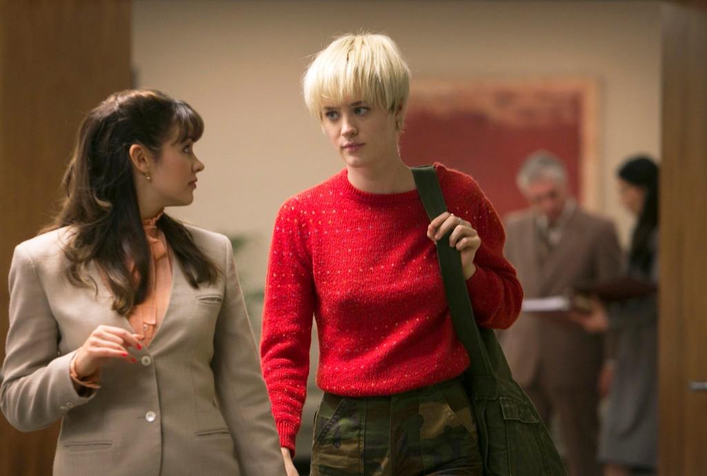 Bianca Malinowski as Debbie and Mackenzie Davis as Cameron Howe - Halt and Catch Fire _ Season 1, Episode 2 - Photo Credit: Tina Rowden/AMC